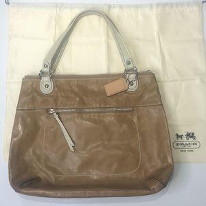 COACH Light Tan Leather Tote Bag
